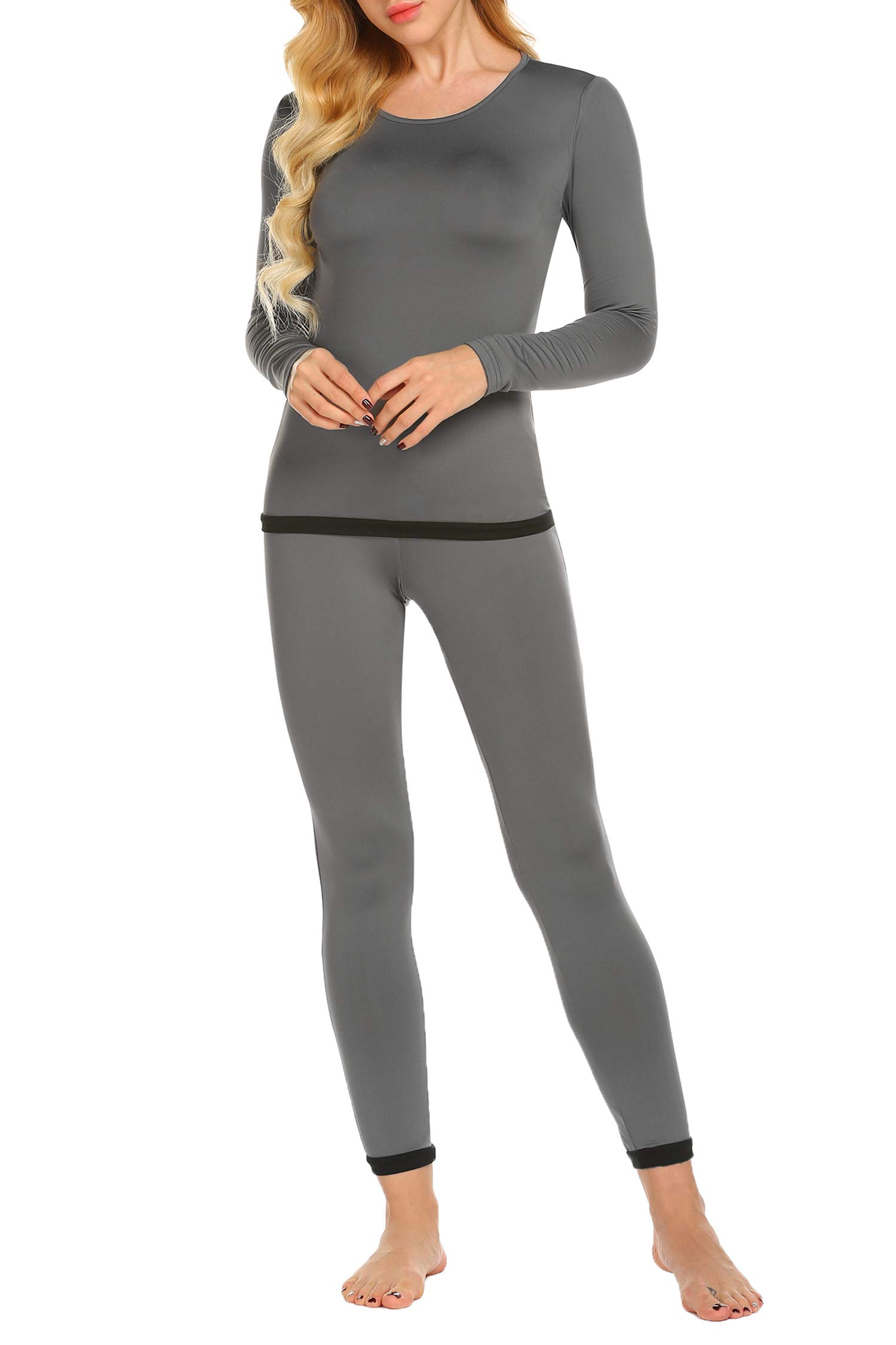Ekouaer Womens Thermal 2 Pc Long John Underwear Set Top and Bottom Ultra Soft Smooth Knit (Gray M)