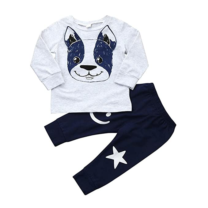 Ropa Bebe Niño otoño Invierno 2018,Fossen Recién Nacido Niño Perros Impresión Camisetas de Manga Larga + Pantalones + Sombrero,2PC/Conjunto