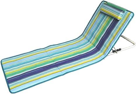 Hosa - Colchoneta de Playa con Respaldo Regulable y Cojín Reposacabezas - Tumbona Plegable para Piscina, con Almohada Acolchada y Bolsa de Transporte - Azul: Amazon.es: Deportes y aire libre