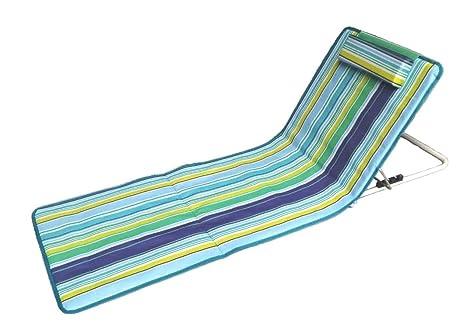 Hosa - Colchoneta de Playa con Respaldo Regulable y Cojín Reposacabezas - Tumbona Plegable Para Piscina, Con Almohada Acolchada y Bolsa de Transporte ...