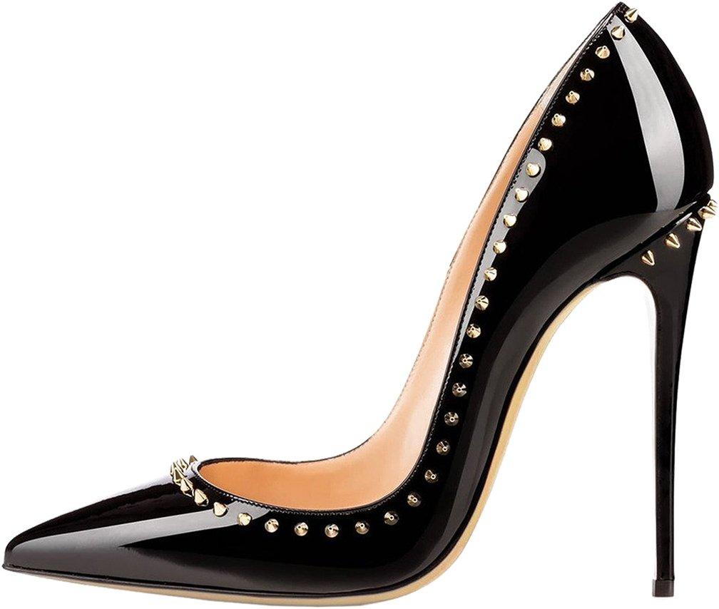 Calaier Mujer Cawash Tacón De Aguja 12CM Sintético Ponerse Zapatos de tacón 44 EU|Negro