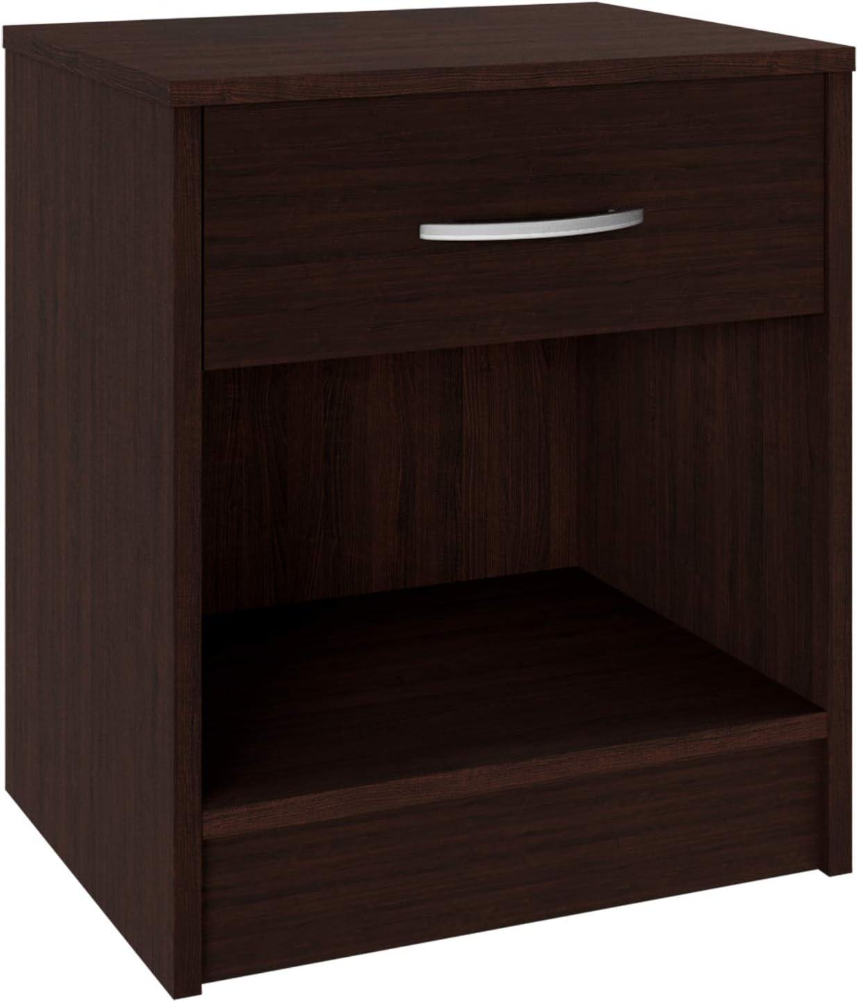 en.CASA Table de Chevet Table de Nuit MDF 40 x 29,7 x 41,5cm avec 1 tiroir et 2 Surfaces de Stockage Noir