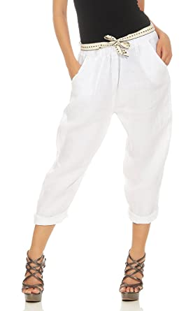 Finden Sie den niedrigsten Preis billig zu verkaufen neues cleostyle Moderne Damen Capri aus 100% Leinen, leichte luftige Sommerhose  für den Sommer, Kurze Hose für Freizeit und Strand 9-3