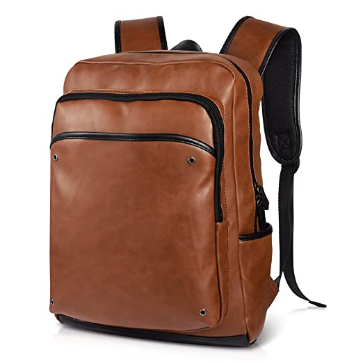 Vbiger Leather Backpack School Backpack Durable for Travel Casual (Brown)