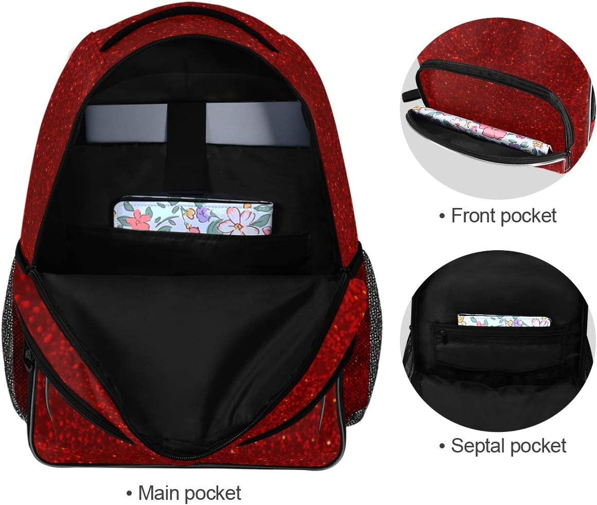 DAOXIANG Red Colorful Background Travel Backpack,Student Backpack,Many Pockets Change Notebooks Mobile Phones Convenient for Storing Small Documents Pens and Other Items