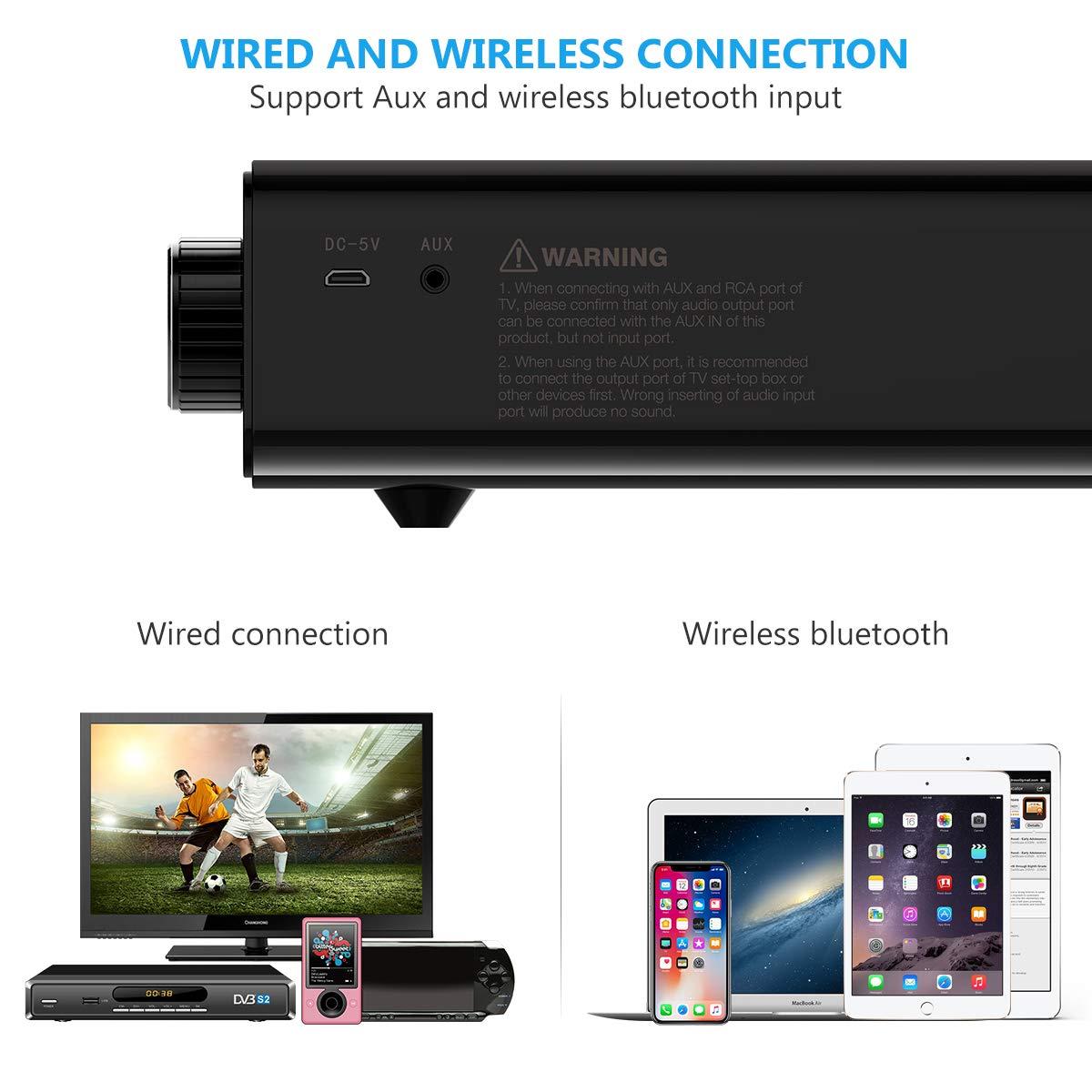 Soundbar, Foxnovo Bluetooth Speaker SoundBar 20W Wired and Wireless  Portable Home Theater Bluetooth Speaker Audio Surround Sound Bar for TV,  PC, Cell