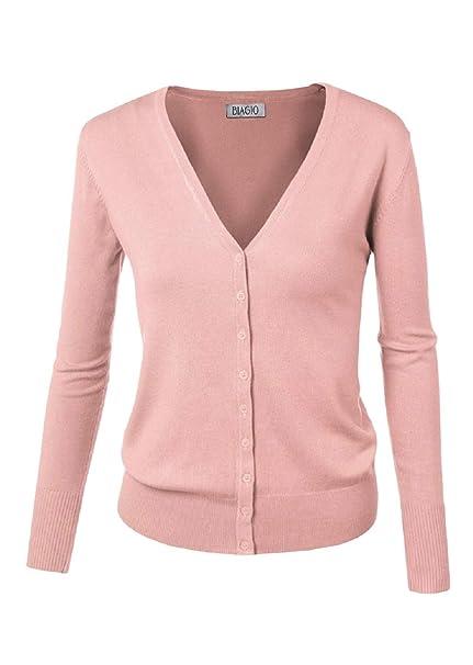 4ddd28664 BIADANI Women Button Down Long Sleeve Basic Soft Knit Cardigan ...