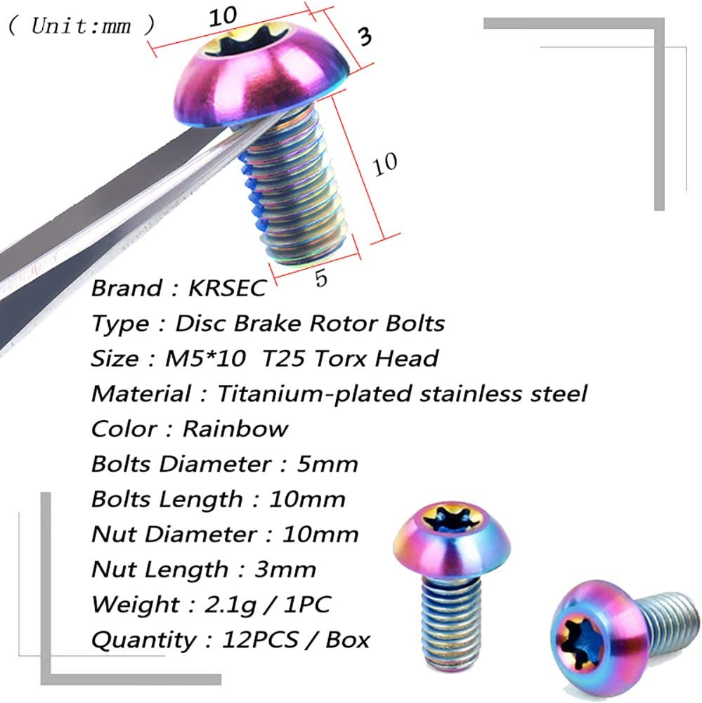 160mm,180mm,203mm MTB Bike Disc Brake 6 Bolts Rotor Rotor Screws T25 12PCS//Boxed