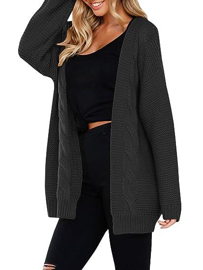 JOYCHEER Womens Sweaters Oversized Open Front Boyfriend Cable Knit Chunky  Cardigans Coat 0f99b0247