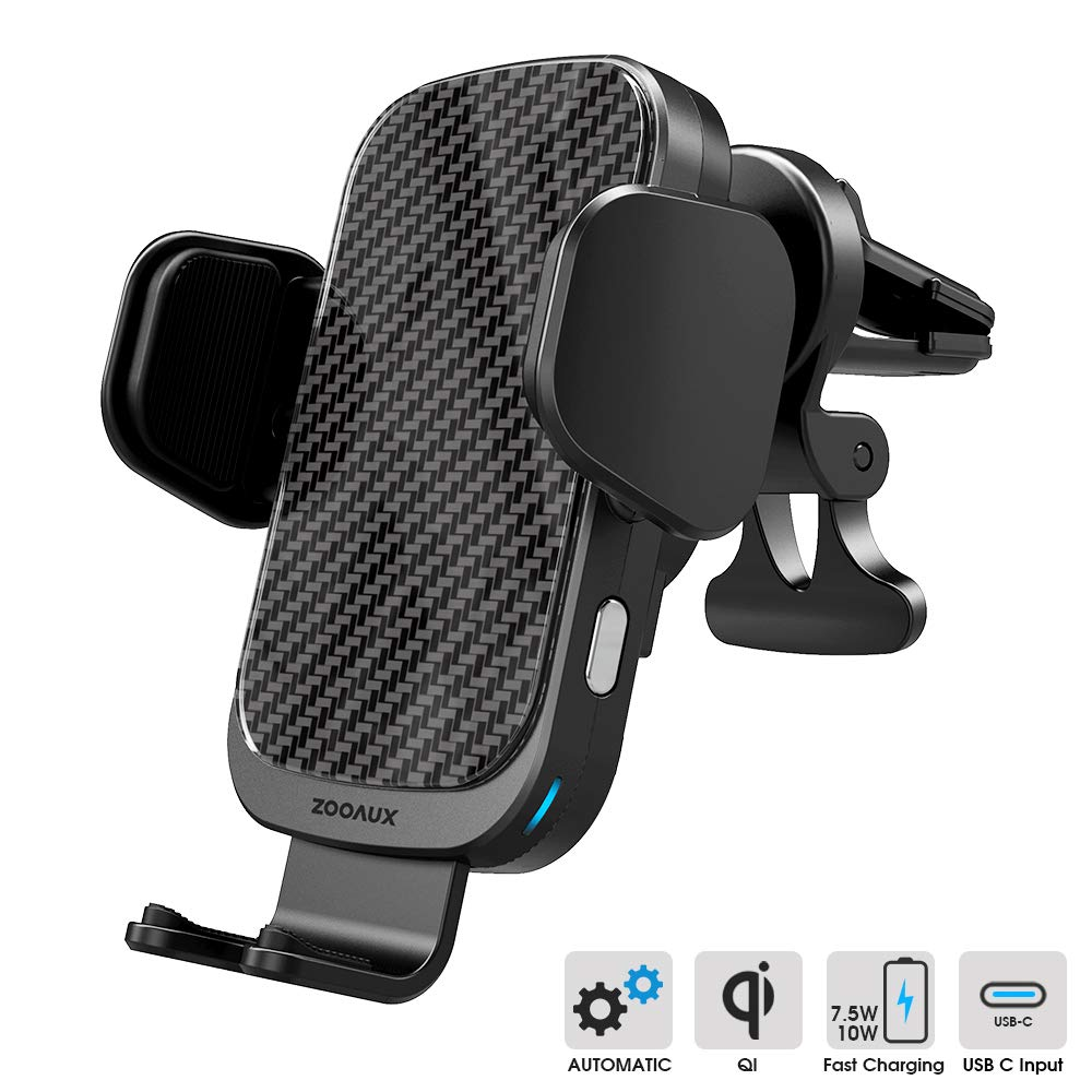 ZOOAUX Fast Wireless Car Charger Vent Mount, Automatic Clamping 10W/7.5W Fast Charging Air Vent for Car Compatible with iPhone Xs Max XR 8 Plus, Samsung S10 S9 S8, LG V30, etc