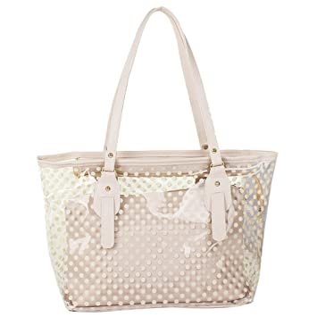 cc482ea9e4b2 STONG Fashion Women Candy Clear Transparent Handbag Tote Shoulder Bags  Beach Bag with 1 Zippered Insert