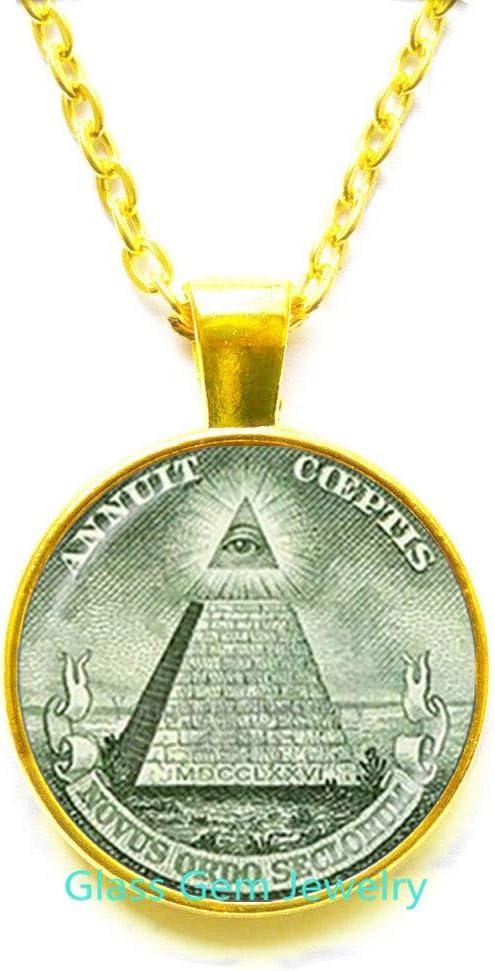 Colgante Annuit Coeptis Egipto Pirámide Collar ojo de Providencia Maic Illuminati Maic Signo de Maic Collar de geometría sagrada, Q0271