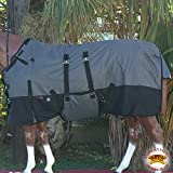 HILASON 78'' 1200D WINTER WATERPROOF HORSE BLANKET BELLY WRAP GREY BLACK