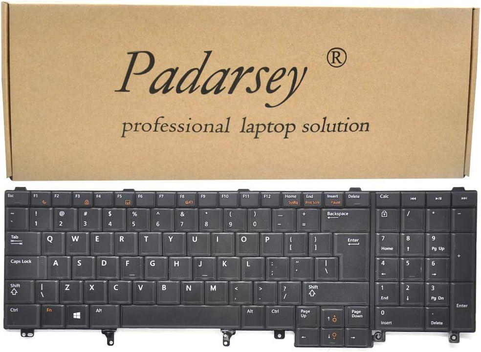 Padarsey Replacement Keyboard Without Pointer Compatible with Dell Latitude E5520 E5520m E5530 E6520 E6530 E6540 Precision M4600 M4700 M4800 M6600 M6700 Laptop US Layout