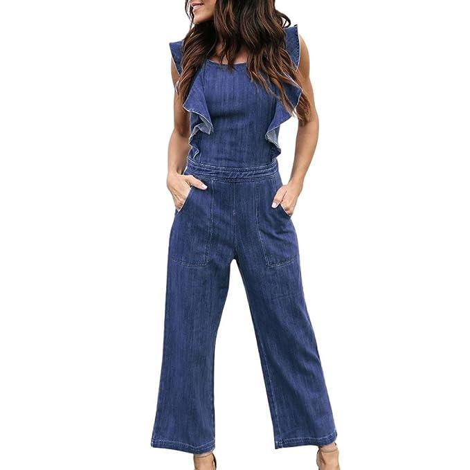 89e5479ef4b1 Teresamoon Ruffles Romper Womens Denim Bandage Sleeveless Jumpsuits (Blue