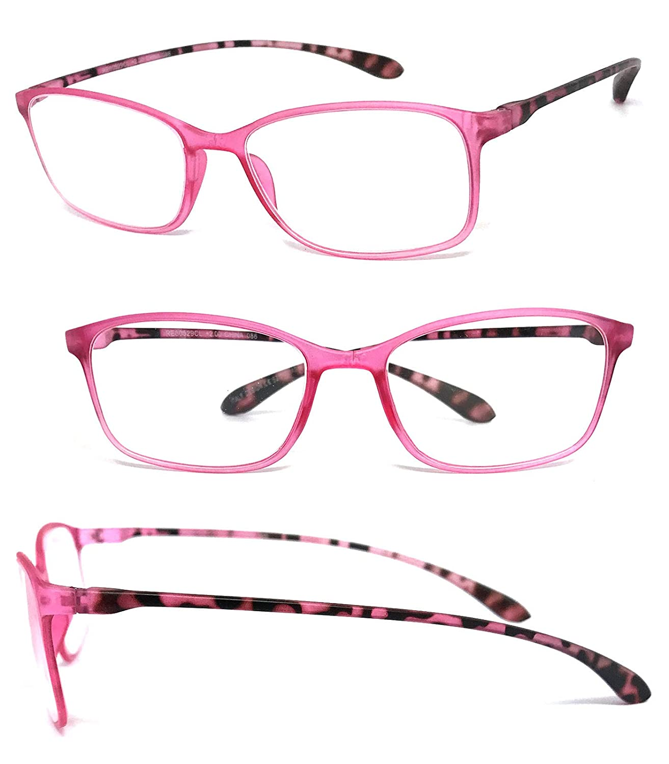 , 0 VeryHobby Rectangle Full Clear Lens Reading Glasses Colorful Thin Frame Green Clear 2.5 1 Pair