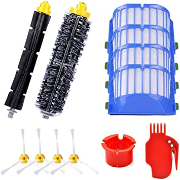 Not for 645 655/& 500 Series 595 585 564 552,3 Filter,3 Side Brush,1 Pairs Bristle and Flexible Beater Brush LOVECO Replacement Parts Kit for iRobot Roomba 600 Series 690 614 680 660 651 650