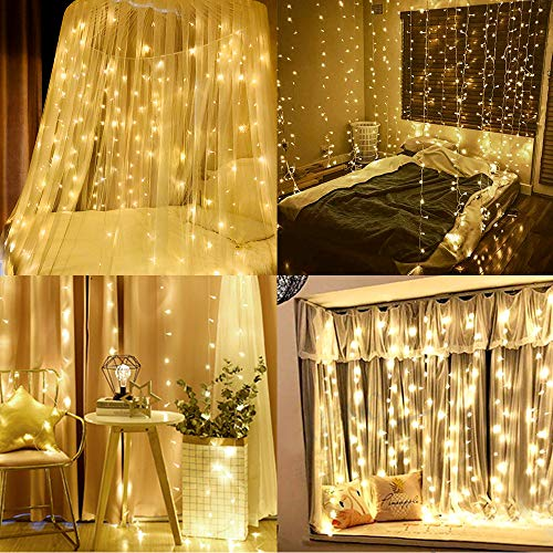 LOMEZI Window Curtain String Light, 300 LED 9.8ftX9.8ft Twinkle Lights with USB, 8 Modes Remote Control for Home, Wedding, Bedroom, Indoor, Warm White
