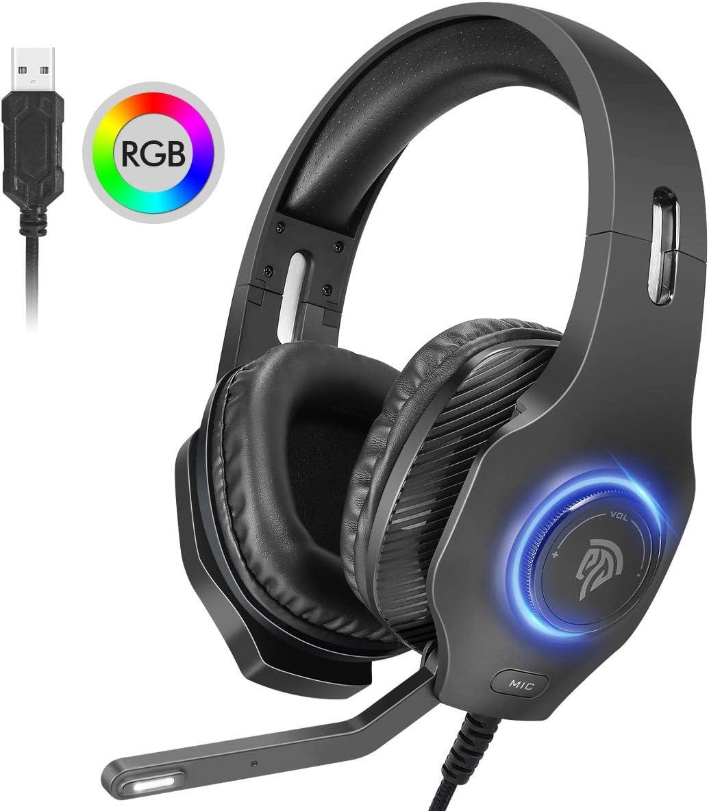 Auriculares gaming Estéreo 7.1, [Regalos Origianles] Cascos Gaming Envolvente 7.1 para PS4, y PC ect. con Orejeras Suaves Respirables, Micrófono Ajustable, LED RGB de Ciclo Automático y Silenciamiento