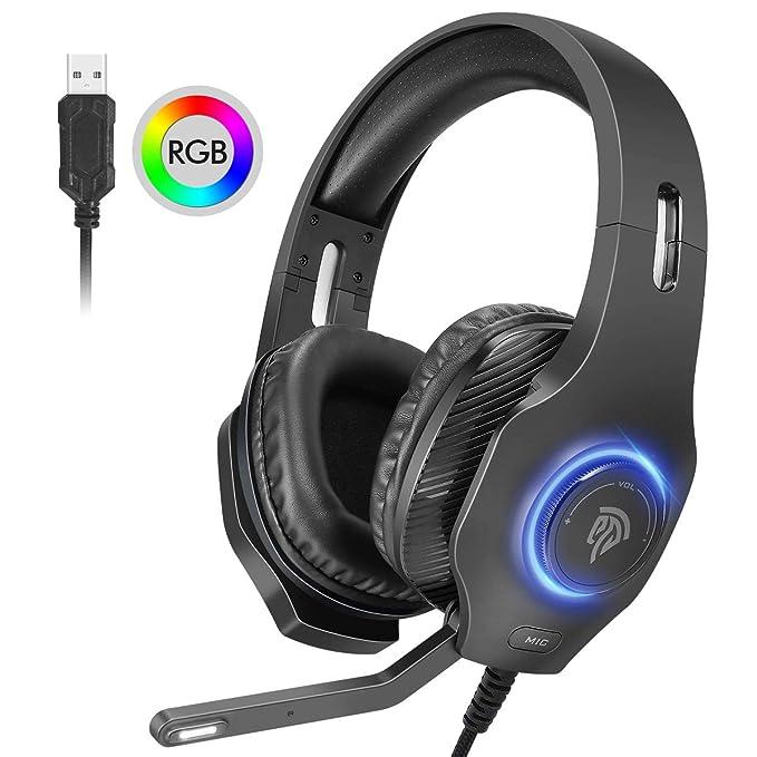 Auriculares gaming Estéreo 7.1, [Nuevo 2019] Cascos Gaming Envolvente 7.1 para PS4, PS3 y PC ect. con Orejeras Suaves Respirables, Micrófono Ajustable, LED RGB de Ciclo Automático y Silenciamiento
