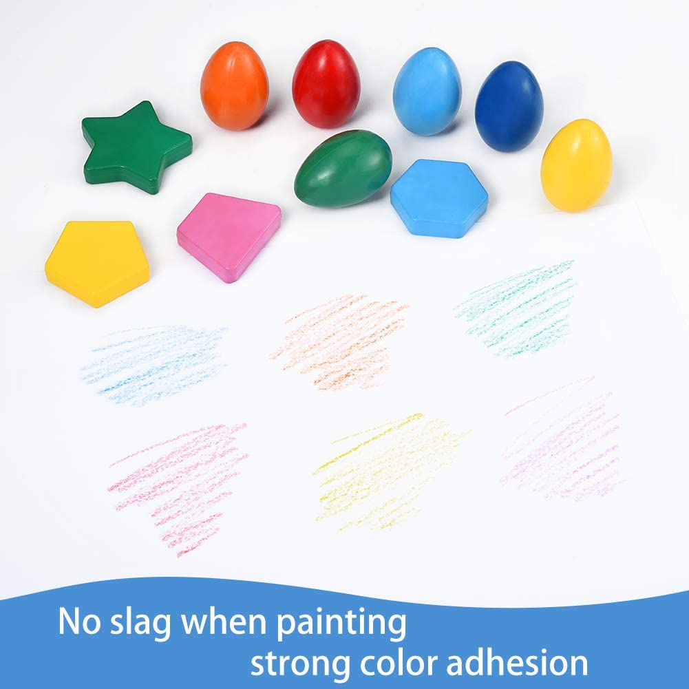 18PCS Kids Washable Paint Draw Strong Crayon with Egg Geometry Assorted Shape for Parent-child Learn Paint Lanthour Colorful Crayon Set Develop Intelligence Increase Creativity and Imagination