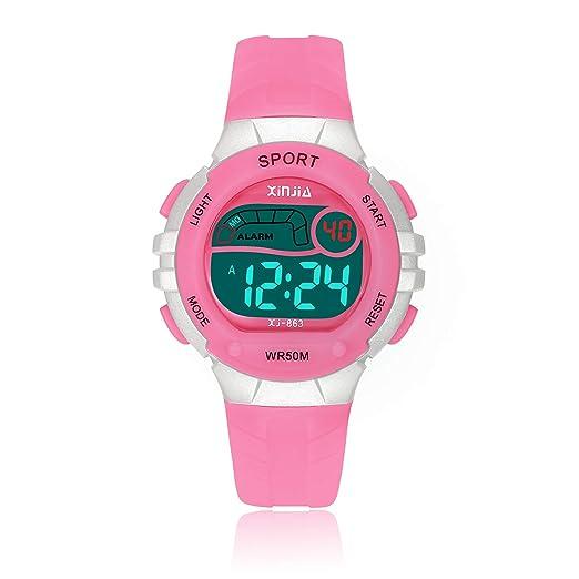 Reloj Digital para Niños Niña, 50M(5ATM) Impermeabl Deportes al Aire Libre LED Multifuncionales Relojes de Pulsera con Alarma: Amazon.es: Relojes
