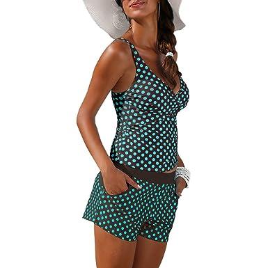 c28ddfd89e943f iBaste Tankini Damen Neckholder Bikini V-Ausschnitt Badeanzug mit Shorts  Swimsuit Bademode Bikini Sets-