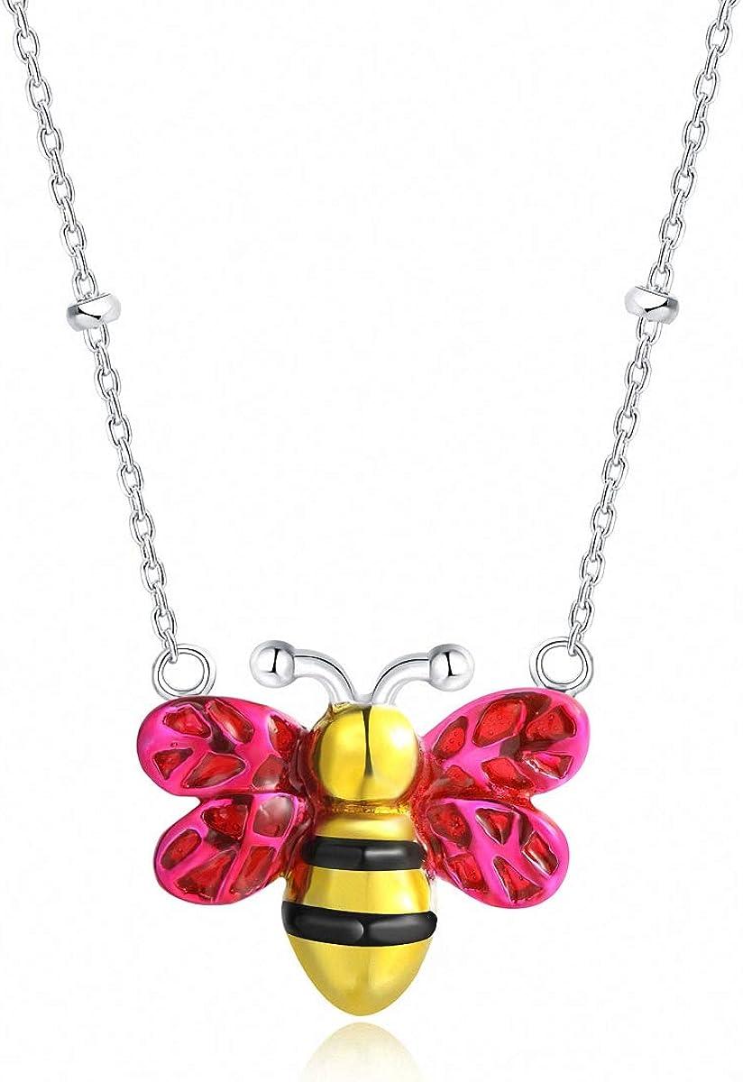 Lotus Fun S925 Cadena de Plata de Ley con Colgante de Abeja, Hecha a Mano, con Piedras Preciosas, para Mujeres y niñas