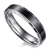 Flongo Black Vintage Love His and Hers Stainless Steel Wedding Engagement Promise Eternity Bands Ring