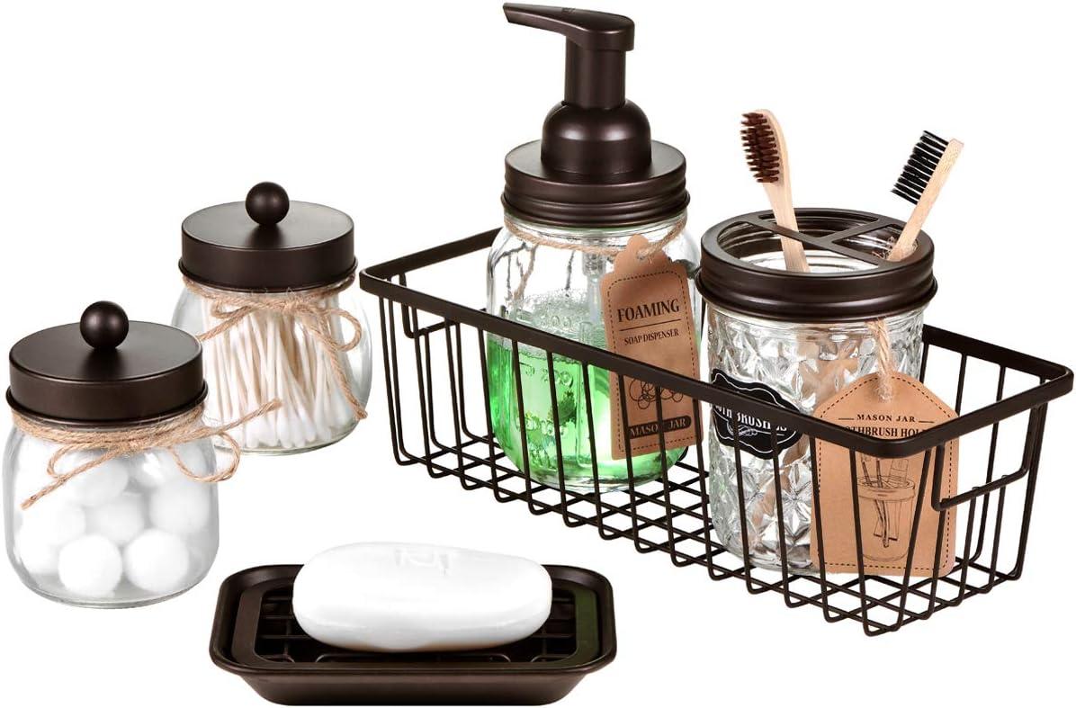 Mason Jar Bathroom Accessories Set(6PCS) - Foaming Soap Dispenser,Toothbrush Holder,Qtip Holder,Apothecary Jars, Soap Dish,Metal Wire Storage Organizer - Rustic Farmhouse Decor Bathroom (Bronze)