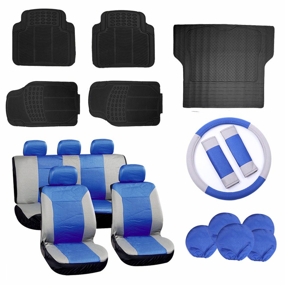 ECCPP Gray/Blue Car Seat Covers W/Steering Wheel Cover 5Pcs Car Floor Mats W/Trunk Liner Breathable fit Heavy Duty Vans Trucks(17pcs)