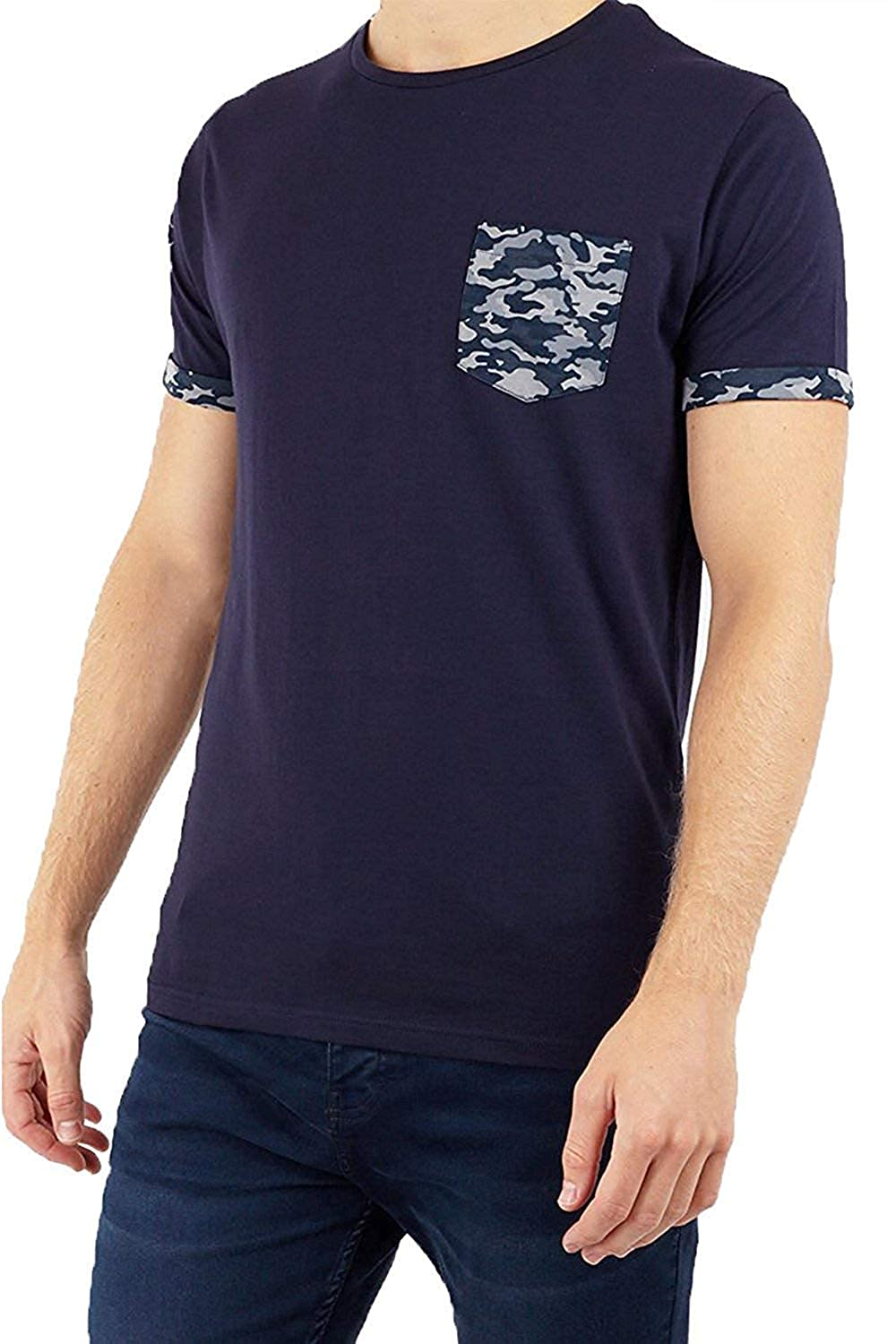 Brave Soul Mens Jarvis Crew Neck Cotton Soft Camo Print Rolled Cuff T Shirt