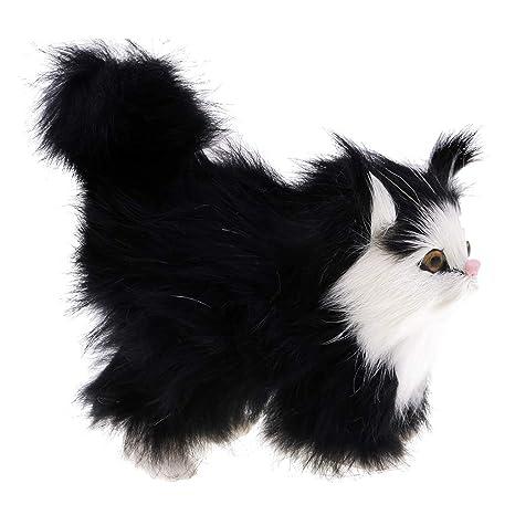 D DOLITY Gato Simulado Figura Viva de Felpa Artificial Peludo Gato Regalos para Aficionados a Los