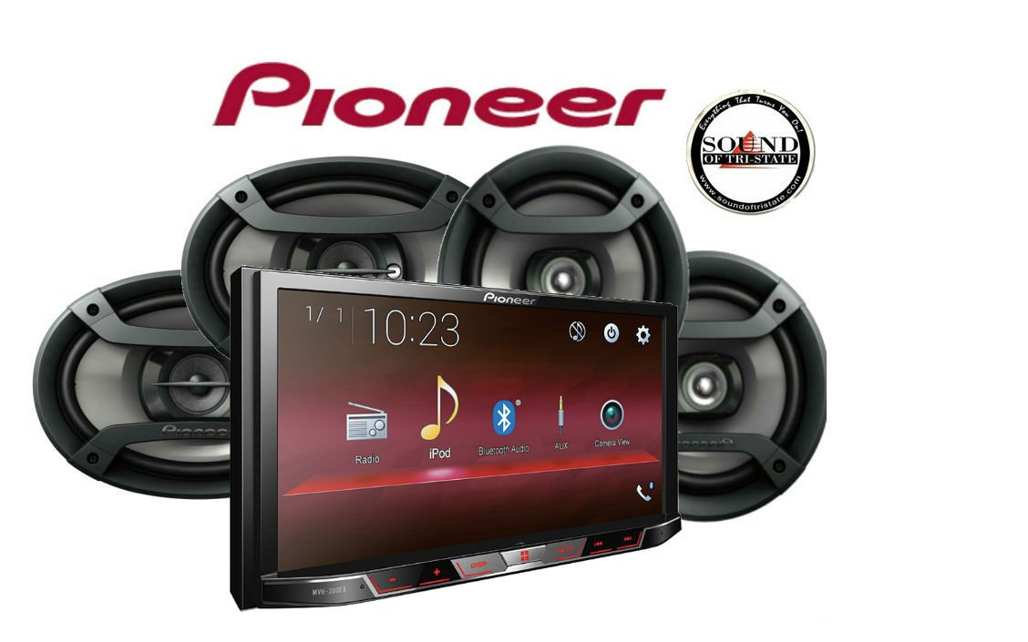 Pioneer MVH-300EX Double Din Digital Multimedia Video Receiver with 7'' WVGA Display, Does NOT Play CDs Pair of Pioneer TS-695P 6x9'' & TS-165P 6.5'' Speakers & SOTS Air Freshener