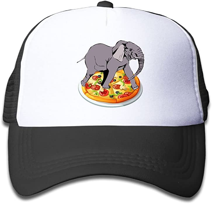 edd1bfe91a7aeb Snapback Adjustable Boy and Girl Elephant Pizza 1 Baseball Cap Mesh Kids Hat