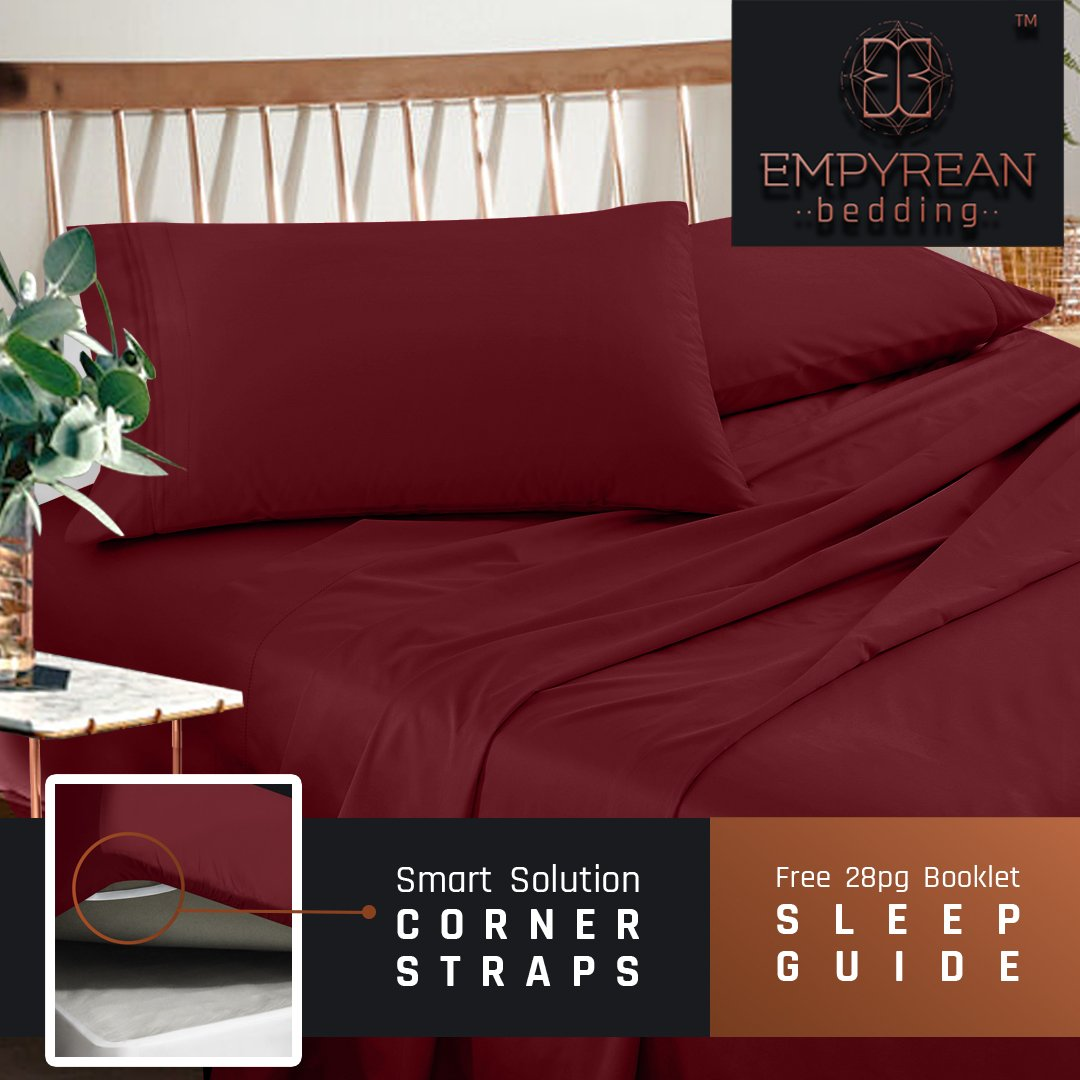Sheets Set - Red Burgundy Hotel Luxury 3-Piece Bed Set