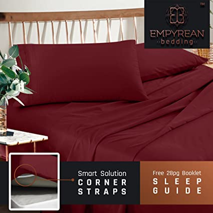 Premium King Size Sheets Set   Red Burgundy Hotel Luxury 4 Piece Bed Set,