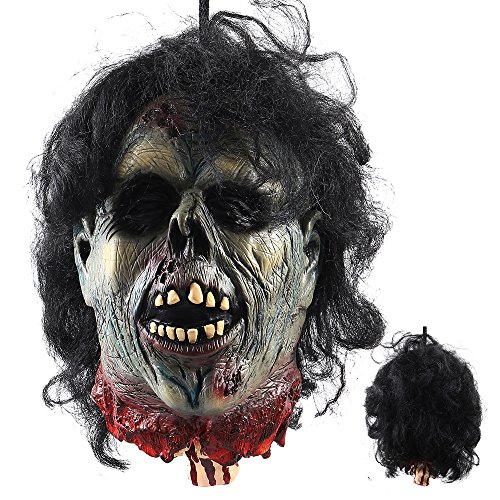 LITTLEGRASS Halloween Props Scary Hanging Severed Head Decorations,Life-Size