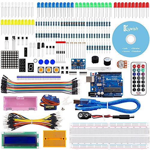 Keywish For Arduino, Project MPU6050 Starter Kit with Tutorial 6 Axial MPU-6050 Module Axis Analog Gyro Sensors Gyroscope Accelerometer Stance Tilt, UNO R3 Controller Board, LCD1602, Servo Motor