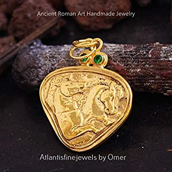 Chrome Diopside Coin Pendant Handmade By Omer 24 K Gold Over 925 Sterling Silver