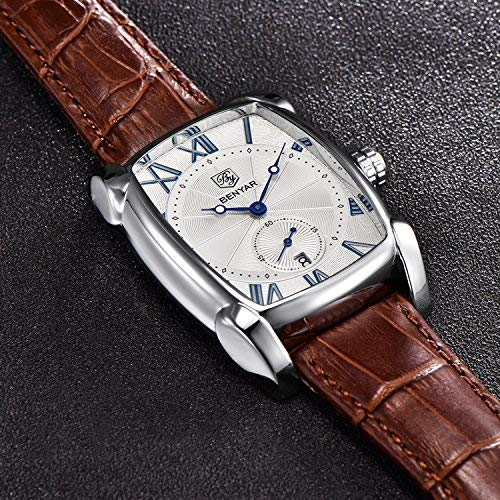 Image result for Classic Retro Rectangle Watches Men Brown Genuine Leather Men's Watch Quartz Business Wrist Watch For Men