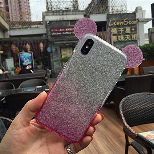 Design Silicone Back Cover - we3Dcell (mouse ears case) With Hang rope Cute 3D Cartoon Lovely Animal Design Soft Silicone Back Case Cover for IPHONE 10 / iPhone X (PINK)