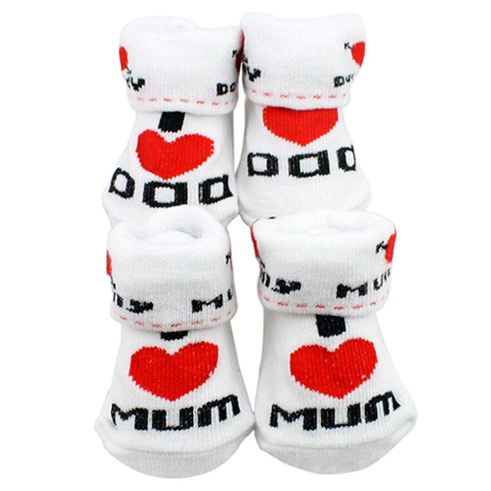 Tangbasi Baby calzini ragazze dei neonati bambino neonato cotone calzini stivaletti I Love Dad taglia unica