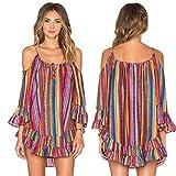 Women Dress,Haoricu Women's Fashiom Summer Rainbow Print Fringed Beach Loose Strap Chiffon Dress Blouse (M, Hot Pink)
