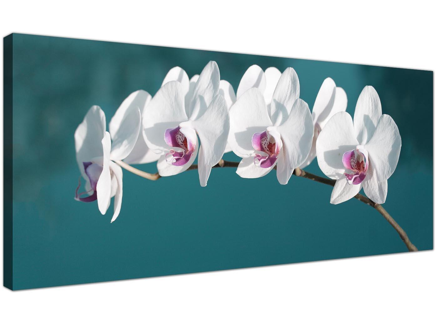 Grande quadro su tela acqua di orchidee bianche–Larghezza floreale Wall Art–1115–Wallfillers®