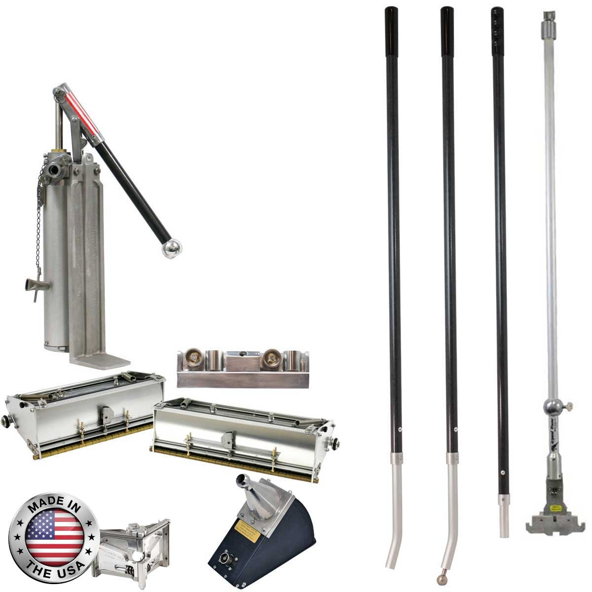 Drywall Master Professional Finishing Set - 10'' & 12'' Flat Boxes, Angle Box, Angle Head, Roller, Pump & Handles
