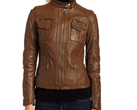 089becc1df39 Handmade Fitters Multi Pockets Leather Jacket for Women - X-Small - Brown