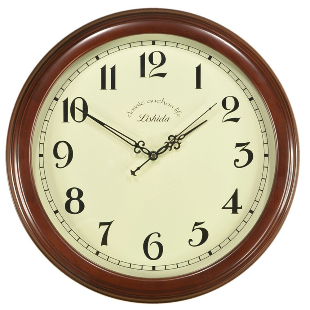 Ing-Never Stop Wall Clocks,Large Decorative Wooden wall clock Non-ticking 14'' for Living Room/Home/Office/kitchen