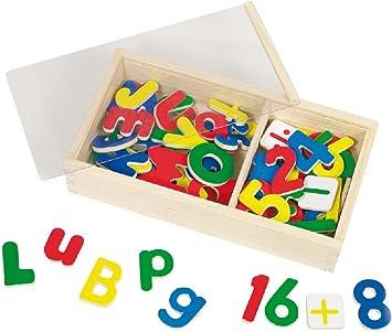 Holzmagnete ZAHLEN 60STK Box Holz Magnete Kindermagnete Kinder Spielzeug Magnet