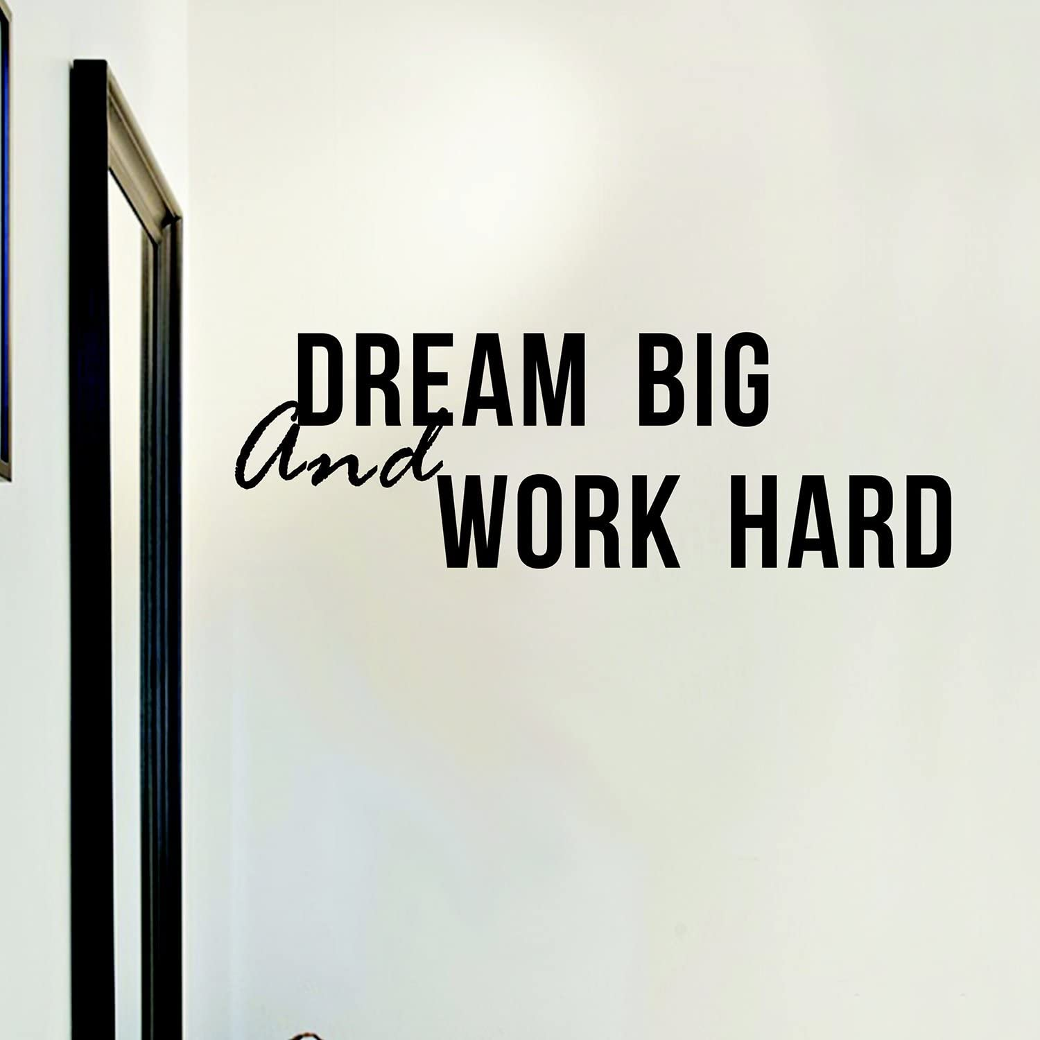 Decal Wall Quote Sayings Stickers Quotes Vinyl Inspirational Wall Decals Words Letters (Dream Big & Work Hard)